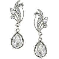 Antiquities Couture Collection by 1928 Jewelry - Silver Tone Crystal with Swarovski Elements Vine Teardrop Earrings