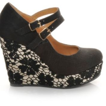 Women's Soda Glenda Black Linen | Shoe Carnival