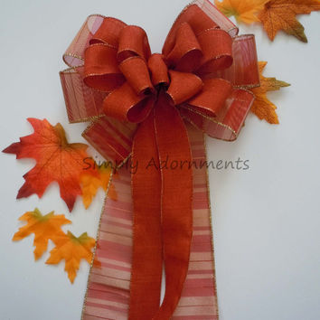 Burnt Orange Fall Wedding Pew Bow Burnt Orange Fall Wedding Pew Bow Thanksgiving Wreath Bow Fall Wedding Ceremony Decoration