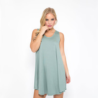 Stop The World Jersey Shift Dress In Blue