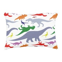 Colorful Dinosaur Pattern (Light) Accent Pillow