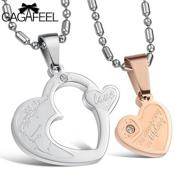 Stainless Steel Fine Jewelry Men Women Couples Gold Color Lettering Pendant Necklace Crystal Natural Stone Love Heart Gift N600