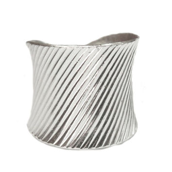 Handmade Sterling Silver Wide Band Ring, Women's or Man's cuff Ring, lines textured, Adjustble Boho wide Band Unisex Ring
