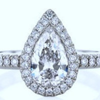 1.34ct Pear Shape Diamond Engagement Ring EGL certified 18kt White Gold Anniversary bridal birthday
