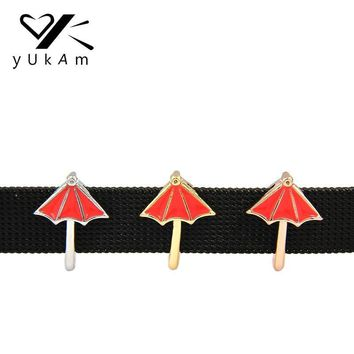 YUKAM Summer Jewelry Red Enamel Beach Umbrella Slide Charms Keeper fit for Reversible Stainless Steel Mesh Keeper Wrap Bracelets