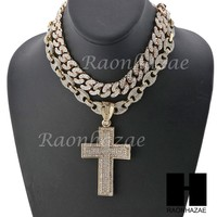 "Iced Out Large Cross Pendant 16"" Iced Out Choker 18"" Puffed Gucci Chain Set G40"