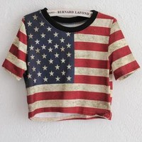 Cropped Star And Stripe Print T-shirt