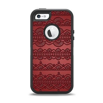 The Dark Red Highlighted Lace Pattern Apple iPhone 5-5s Otterbox Defender Case Skin Set