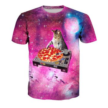 DJ Pizza Cat In Outer Space Galaxy All Over Print T-Shirt