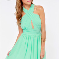 LULUS Exclusive This Twist, This Twist Mint Green Halter Dress