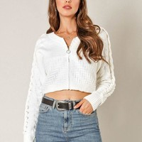 Switch To Cable Crop Sweater in Ivory