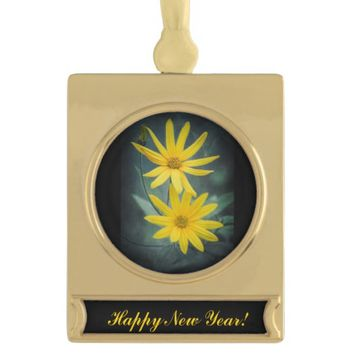 Two yellow flowers of Jerusalem artichoke Gold Plated Banner Ornament