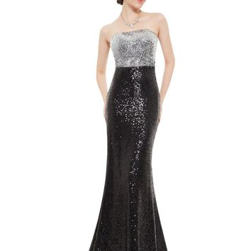[Clearance Sale] Prom Dresses Ever Pretty HE08372 Women's Strapless Fit and Flare Sequins Long Mermaid Vestdos Prom Dresses