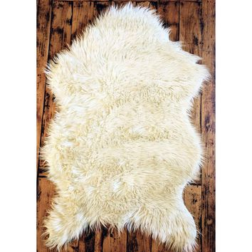 Area Rug Soft White Faux Sheepskin /Chair Cover/Throw-Natural (Tip Dyed)