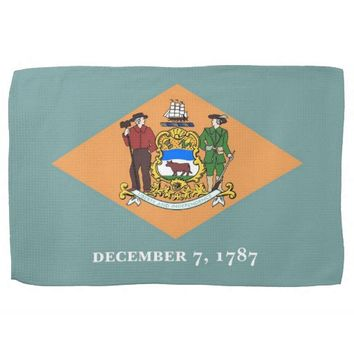 Kitchen towel with Flag of Delaware, U.S.A.