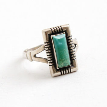 Vintage Sterling Silver Turquoise Blue Stone Ring- Size 7 Retro Southwestern Native American Aztec Style Jewelry