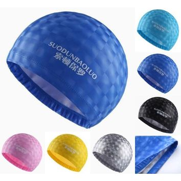 Crystal Water Cube Grids Adults PU Fabric Waterproof Ear Long Hair Protection Swim Pool Swimming Water Caps Hat for Men Women