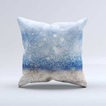 The Blue Unfocused Silver Sparkle ink-Fuzed Decorative Throw Pillow
