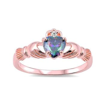 Sterling Silver Rose Gold Plated Rainbow Mystic Topaz Heart Claddagh Ring