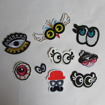 1pcs sell high quality eyes patch hot melt adhesive applique embroidery patch DIY decoration accessory C260-C2011