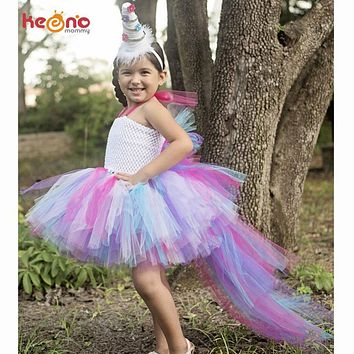 Unicorn Bustle Tutu Dress Girls Birthday Party Dress Up Costume Colorful Pony Mane Girl Dress with Long Tail Little Horse Dress