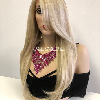 Ash Blond Swiss Lace Front Wig | Long Volume Straight Hair| Anita