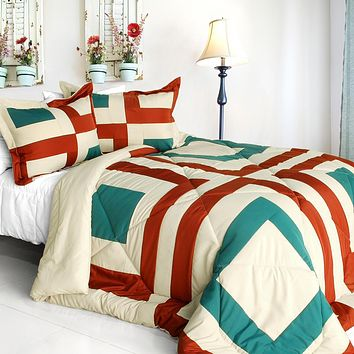 [Sicily] Quilted Patchwork Down Alternative Comforter Set (Twin Size)