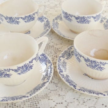 Antique Blue Willow Pattern Teacups and Saucers, Set of 4, Tea Party, Vintage, Cottage Chic, Replacement China, Mid Century