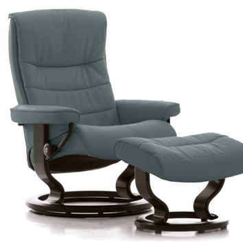 Nordic Large Recliner and Ottoman by Stressless in Paloma Aqua Green