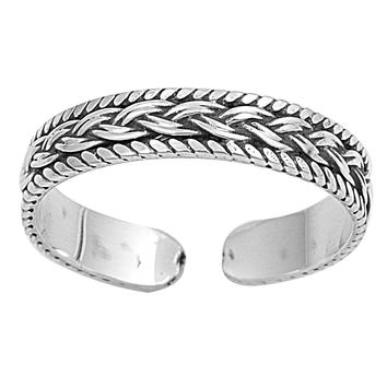Sterling Silver Bali 4MM Toe Ring/ Knuckle/ Mid-Finger