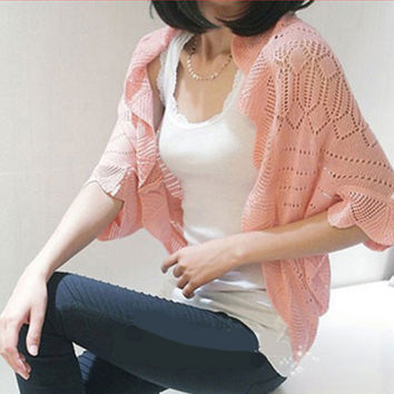 2017 women summer cardigan knitted crop sweater batwing sleeve casual loose feminino small cape outerwear air condition shrugs