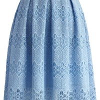 Sky Blue Lace Crochet Skirt
