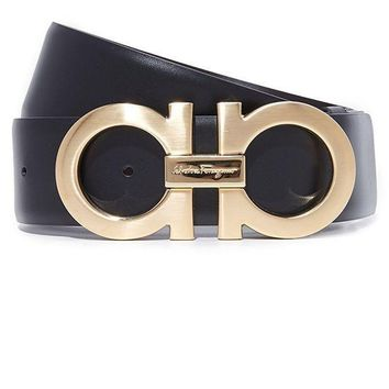Ferragamo Trending Women Men Reversible Belt Metal Smooth Buckle Belt Black Gold I