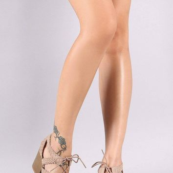 e660d85e780 Qupid Woven Strappy Lace-Up Chunky Heel