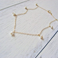 White Pearl Anklet, Bridesmaid Anklet, 14k Gold Fill, Sterling Silver, Dainty Freshwater Pearl Ankle Bracelet, Wedding Anklet, Dangle Anklet