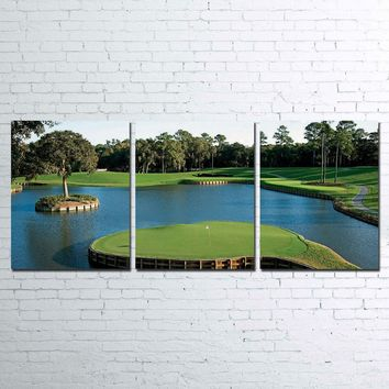TPC  sawgrass golf golfing course hole 17 3 PIECE CANVAS FOR LIVING ROOM