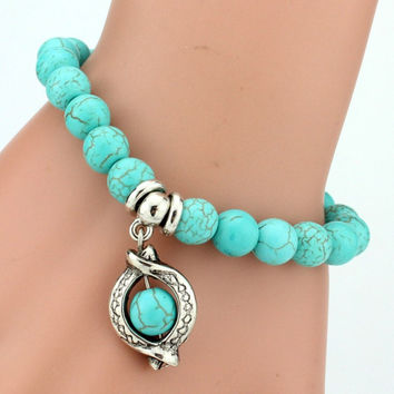 Lemon Value Vintage Charms Turquoise Beads Owl Elephant Pendant Bracelet Fashion Hand Cross Bracelet Women Jewelry Pulseras