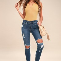 Aline Medium Wash Distressed High Rise Skinny Jeans