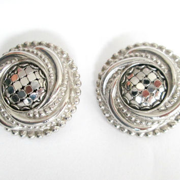 Vintage Whiting & Davis Silver Earrings Pierced 1980s Statement Jewelry Accessory