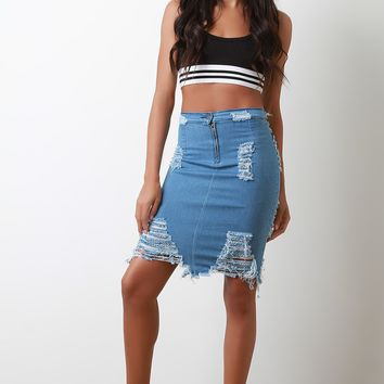 Zip Up Distressed Denim Midi Skirt