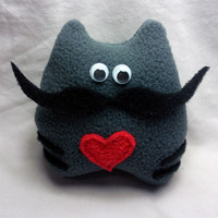 Handmade Cute plush cat with moustache  100% recycled fabric