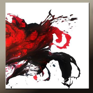 Red Abstract Canvas Art Painting 36x36 Original Contemporary Painting by Destiny Womack - dWo - Redemption II