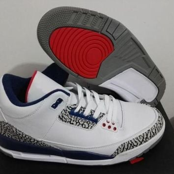 Beauty Ticks Air Jordan Retro 3 True Blue Men Basketball Shoes 3s True Blue White Cement Retro 3s M