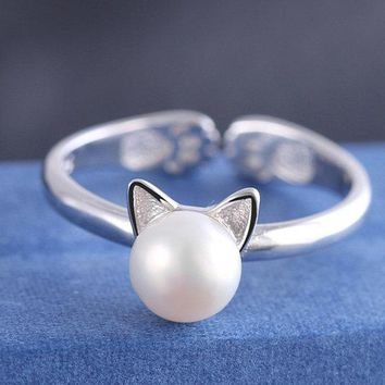 Cat Ear Silver Pearl Ring