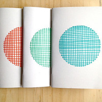 Notebooks Set Pocket Notebooks Eco Friendly Jotters Hand Drawn Pattern Polka Dot Coral Emerald Teal