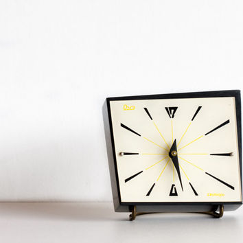 Table Clock, Black and White Desk Clock, Geometric Clock, Wooden Box Clock, Soviet USSR, Mad Men,Ohtteam