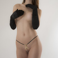 Luck G-String with Hematite Pendant in Gold