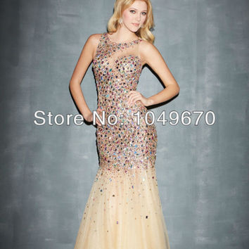 New Fashion 2014 Nude Colored Jewel Neckline Mermaid Prom Dresses With Sparkling Colorful Crystal Long Pageant Gowns N415