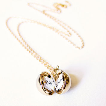 Shiny Gold Secret Message Locket - Vintage Brass Ball Locket Necklace