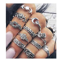 11pcs/set 2017 New Fashion Women's Boho Chic Moon Flowers Rose Jade Antique Silver Plated Midi Rings Set Jewelry Accessories